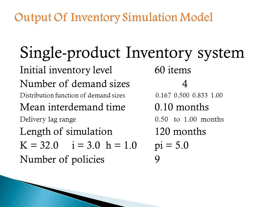 Single-product Inventory system Initial inventory level60 items Number of demand sizes4 Distribution function of demand sizes 0.167 0.500 0.833 1.00 M