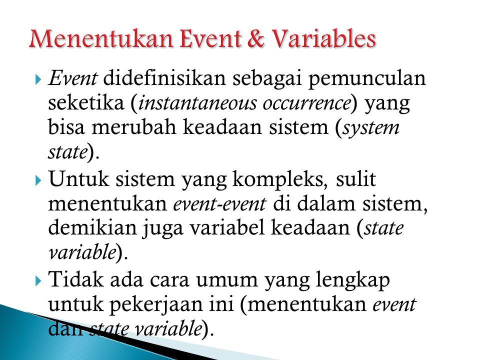  Event didefinisikan sebagai pemunculan seketika ( instantaneous occurrence ) yang bisa merubah keadaan sistem ( system state ).  Untuk sistem yang
