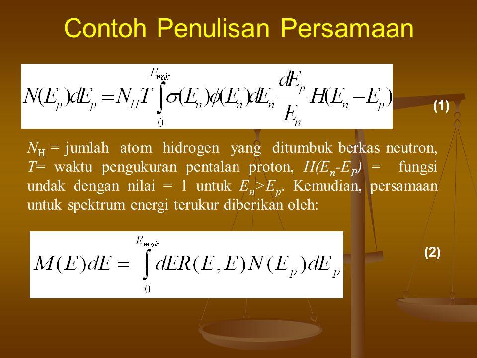 Contoh Penulisan Persamaan dalam hal ini, N H = jumlah atom hidrogen yang ditumbuk berkas neutron, T= waktu pengukuran pentalan proton, H(E n -E P ) =