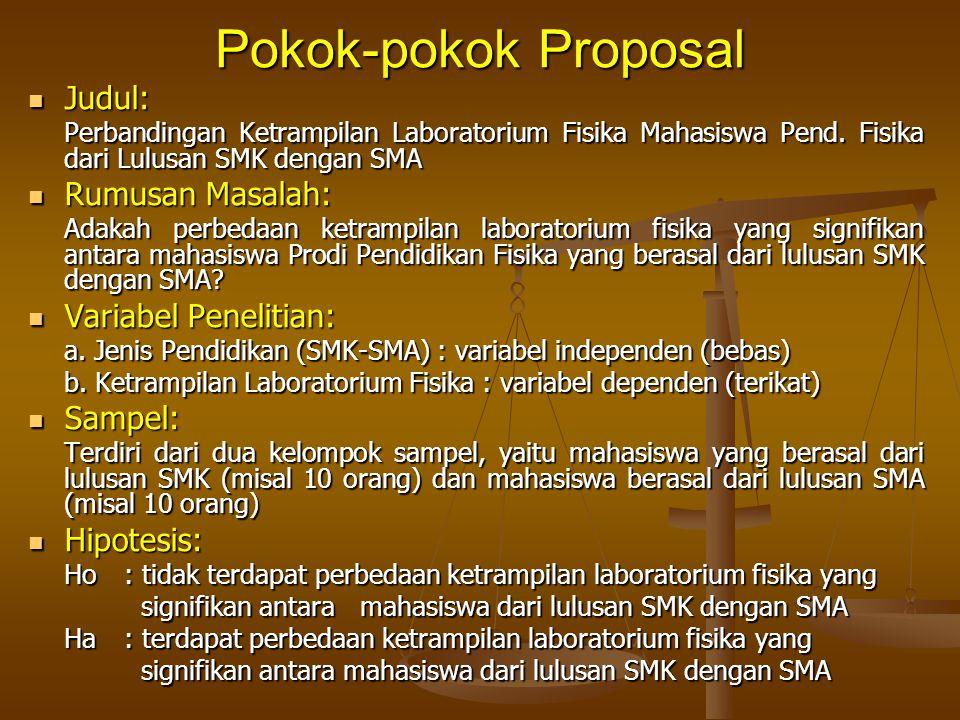 Pokok-pokok Proposal Judul: Judul: Perbandingan Ketrampilan Laboratorium Fisika Mahasiswa Pend. Fisika dari Lulusan SMK dengan SMA Rumusan Masalah: Ru