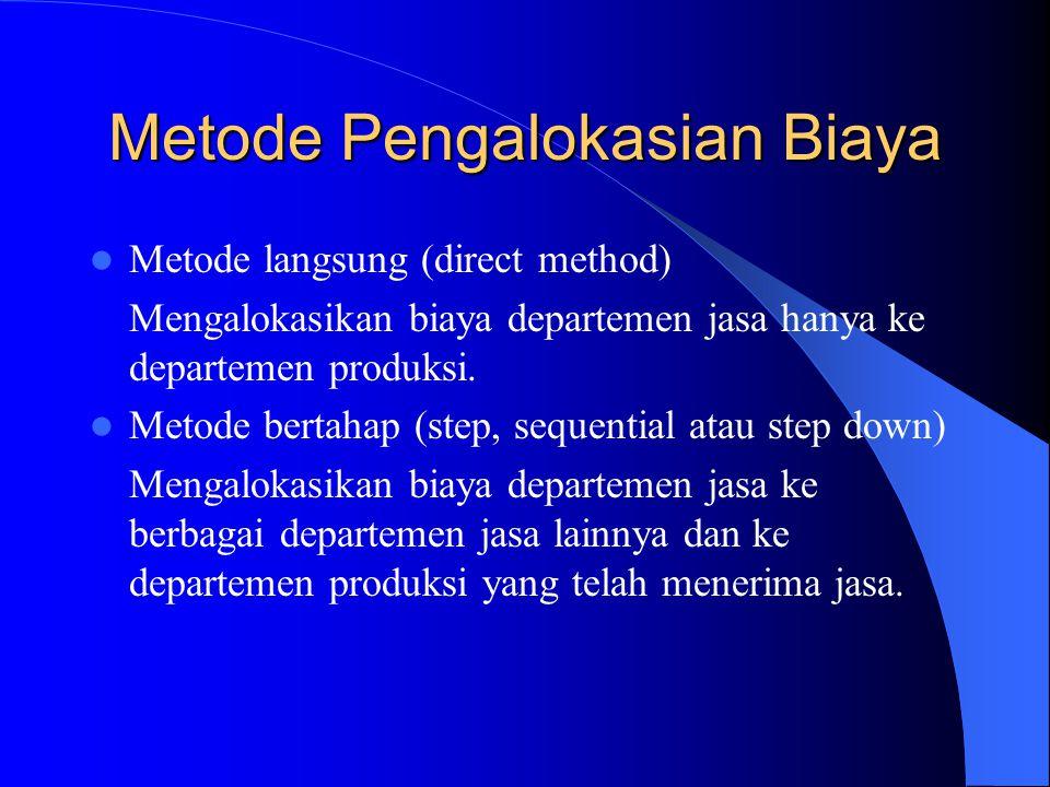 Metode Pengalokasian Biaya Metode langsung (direct method) Mengalokasikan biaya departemen jasa hanya ke departemen produksi.