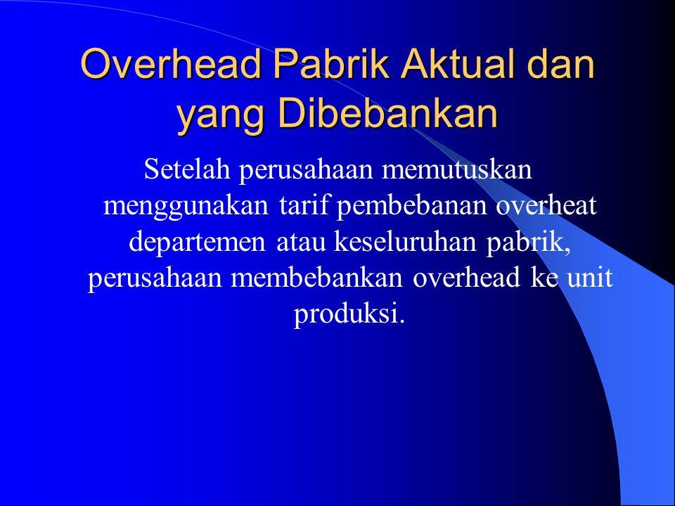 Overhead Pabrik Aktual dan yang Dibebankan Setelah perusahaan memutuskan menggunakan tarif pembebanan overheat departemen atau keseluruhan pabrik, perusahaan membebankan overhead ke unit produksi.