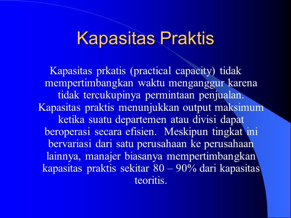 Kapasitas Praktis Kapasitas prkatis (practical capacity) tidak mempertimbangkan waktu menganggur karena tidak tercukupinya permintaan penjualan.