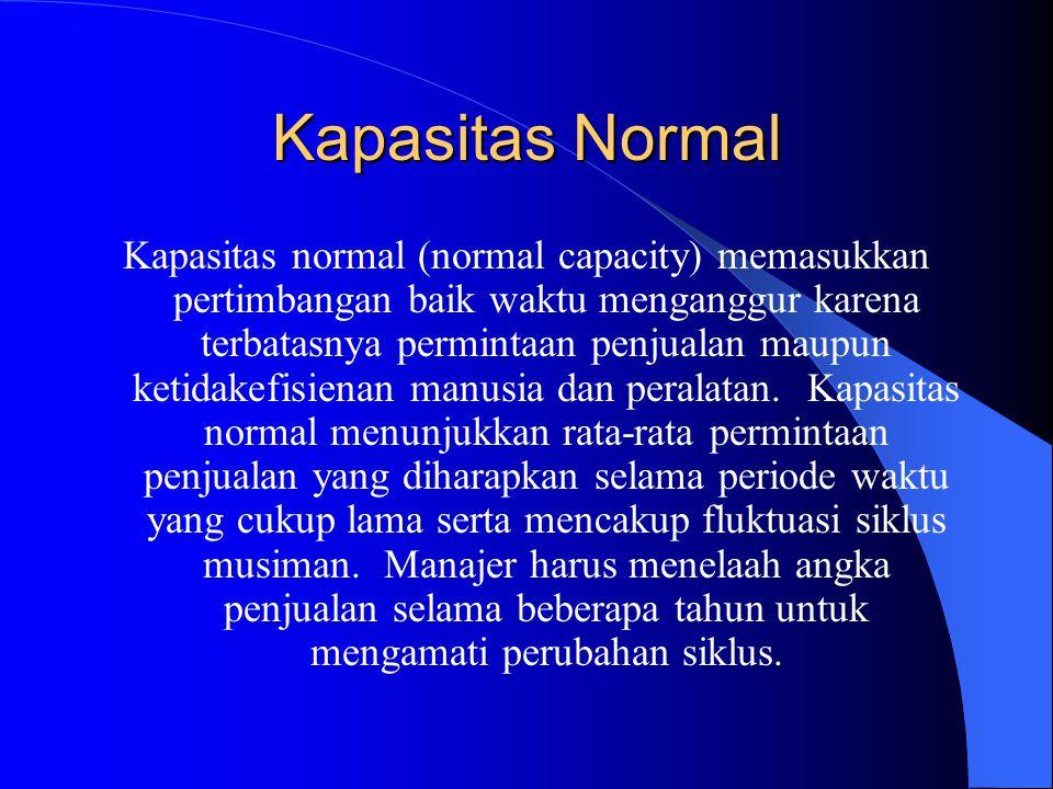 Kapasitas Normal Kapasitas normal (normal capacity) memasukkan pertimbangan baik waktu menganggur karena terbatasnya permintaan penjualan maupun ketidakefisienan manusia dan peralatan.