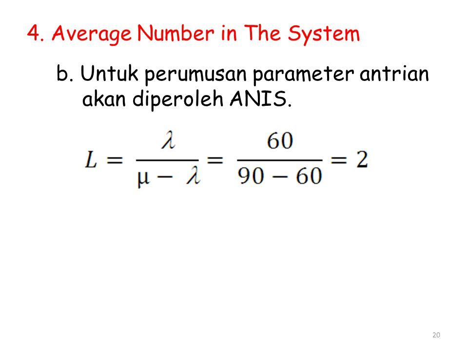 20 4. Average Number in The System b. Untuk perumusan parameter antrian akan diperoleh ANIS.