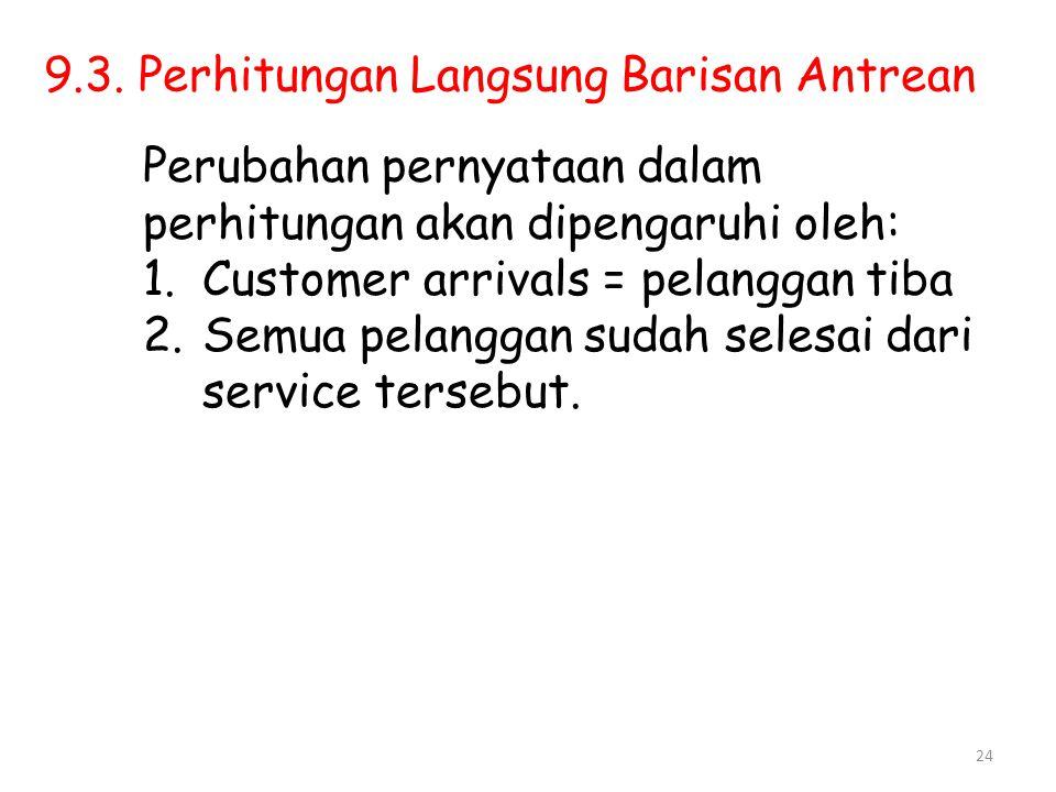 24 9.3. Perhitungan Langsung Barisan Antrean Perubahan pernyataan dalam perhitungan akan dipengaruhi oleh: 1.Customer arrivals = pelanggan tiba 2.Semu