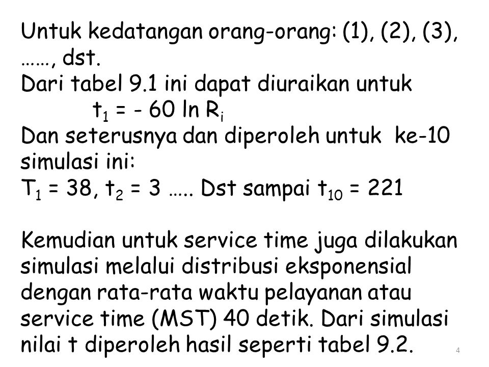 Untuk kedatangan orang-orang: (1), (2), (3), ……, dst. Dari tabel 9.1 ini dapat diuraikan untuk t 1 = - 60 ln R i Dan seterusnya dan diperoleh untuk ke