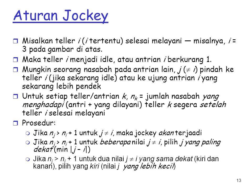 13 Aturan Jockey r Misalkan teller i (i tertentu) selesai melayani — misalnya, i = 3 pada gambar di atas. r Maka teller i menjadi idle, atau antrian i