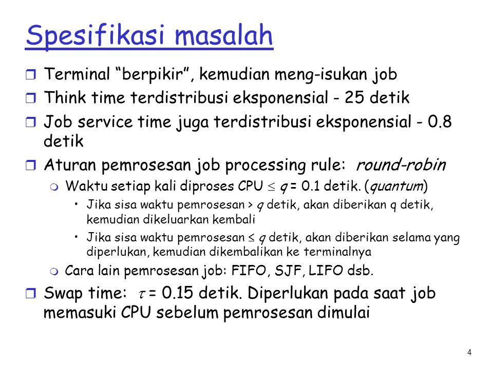 """4 Spesifikasi masalah r Terminal """"berpikir"""", kemudian meng-isukan job r Think time terdistribusi eksponensial - 25 detik r Job service time juga terdi"""