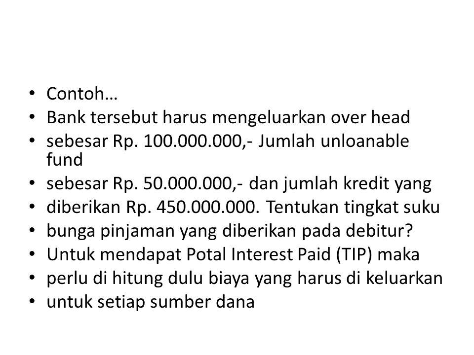 Contoh… Bank tersebut harus mengeluarkan over head sebesar Rp. 100.000.000,- Jumlah unloanable fund sebesar Rp. 50.000.000,- dan jumlah kredit yang di