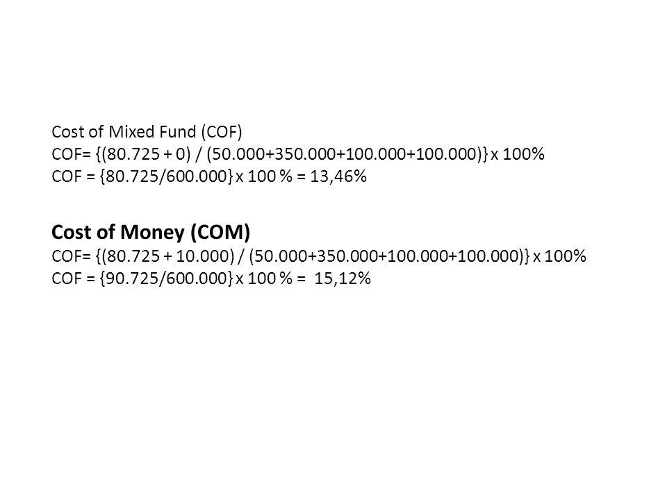 Cost of Mixed Fund (COF) COF= {(80.725 + 0) / (50.000+350.000+100.000+100.000)} x 100% COF = {80.725/600.000} x 100 % = 13,46% Cost of Money (COM) COF