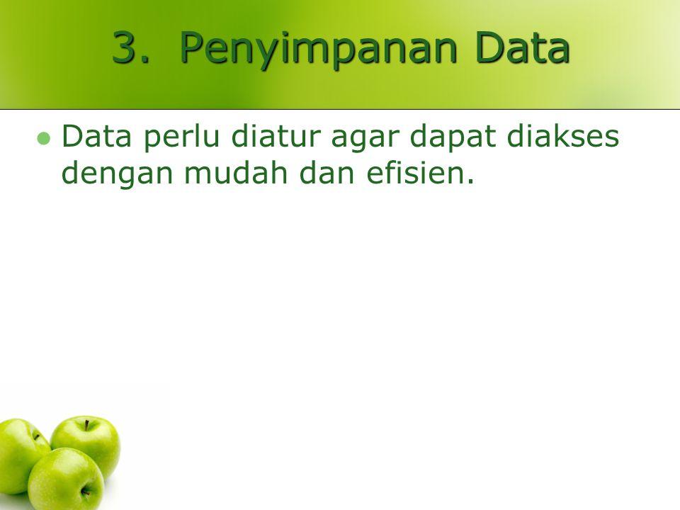 3.Penyimpanan Data Data perlu diatur agar dapat diakses dengan mudah dan efisien.