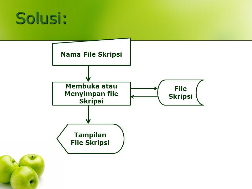 Solusi: Nama File Skripsi Membuka atau Menyimpan file Skripsi File Skripsi Tampilan File Skripsi