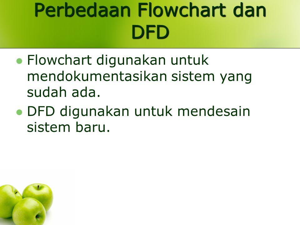 Perbedaan Flowchart dan DFD Flowchart digunakan untuk mendokumentasikan sistem yang sudah ada. DFD digunakan untuk mendesain sistem baru.