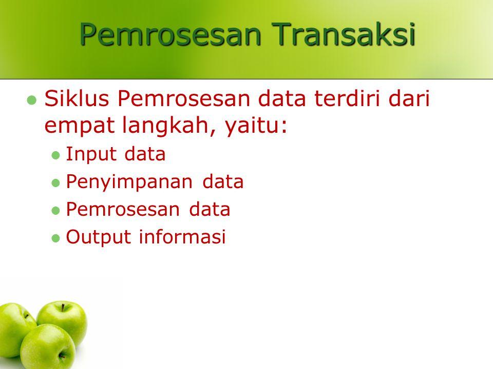 Pemrosesan Transaksi Siklus Pemrosesan data terdiri dari empat langkah, yaitu: Input data Penyimpanan data Pemrosesan data Output informasi