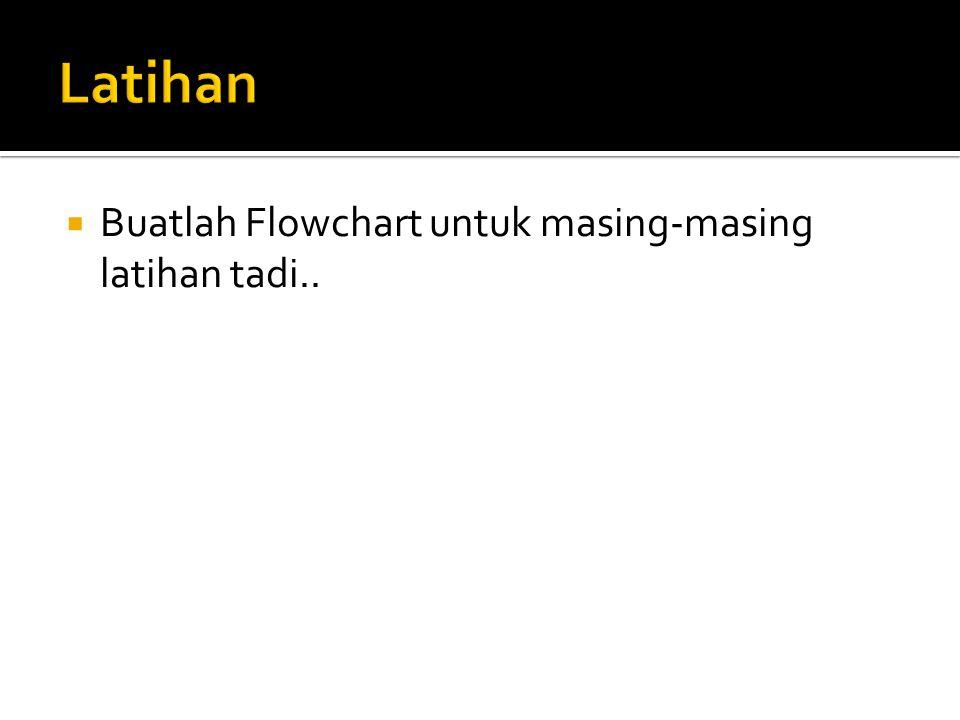  Buatlah Flowchart untuk masing-masing latihan tadi..
