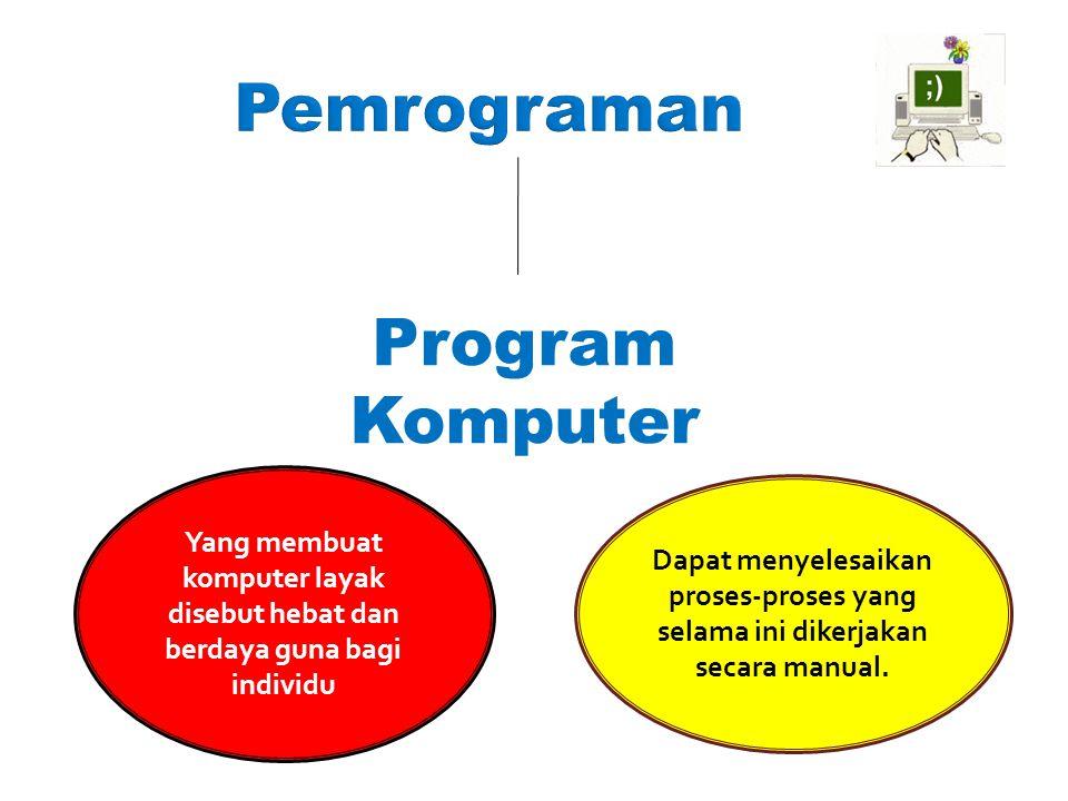 Pemrograman Program Komputer Yang membuat komputer layak disebut hebat dan berdaya guna bagi individu Dapat menyelesaikan proses-proses yang selama in