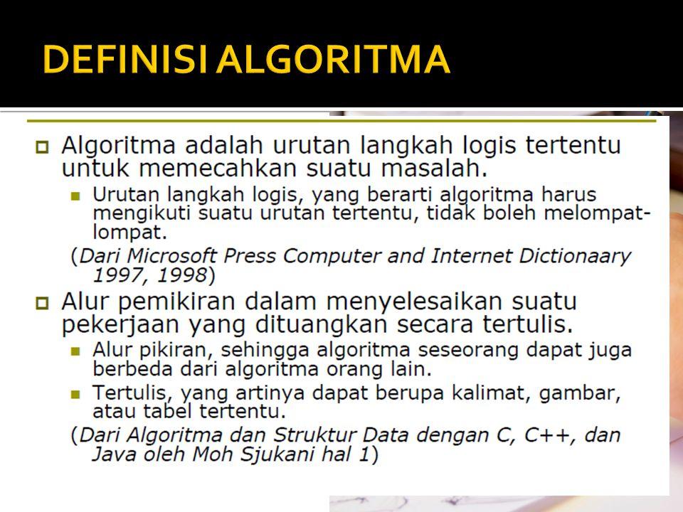 Sejarah Algoritma Asal kata Algoritma (algorism – algorithm) berasal dari nama Abu Ja'far Muhammad ibn Musa Al-Khuwarizmi Ilmuan Persia yang menulis kitab al jabar w'al- muqabala (rules of restoration and reduction – aturan pemugaran dan pengurangan) Tahun 825 M Berasal dari Iran Algoritma masuk Indonesia tahun 1980-an