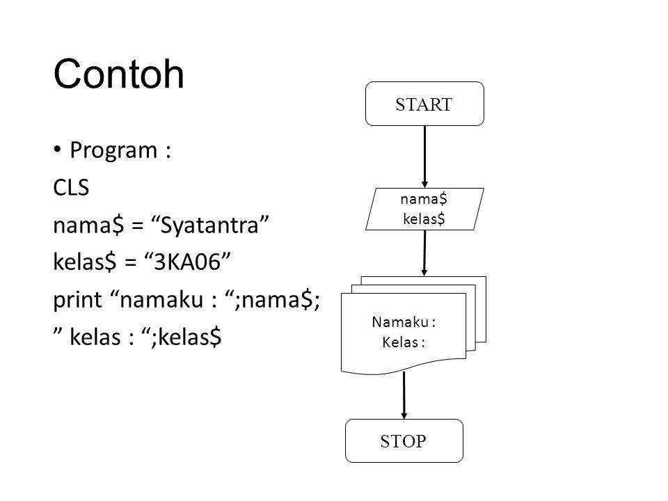 Contoh 2 : Program CLS INPUT masukan nilai : , nilai IF nilai <=10 THEN PRINT nilai = ,nilai ELSE PRINT nilai > 10 END IF START nilai Nilai<=10 nilaiNilai>10 STOP YES NO