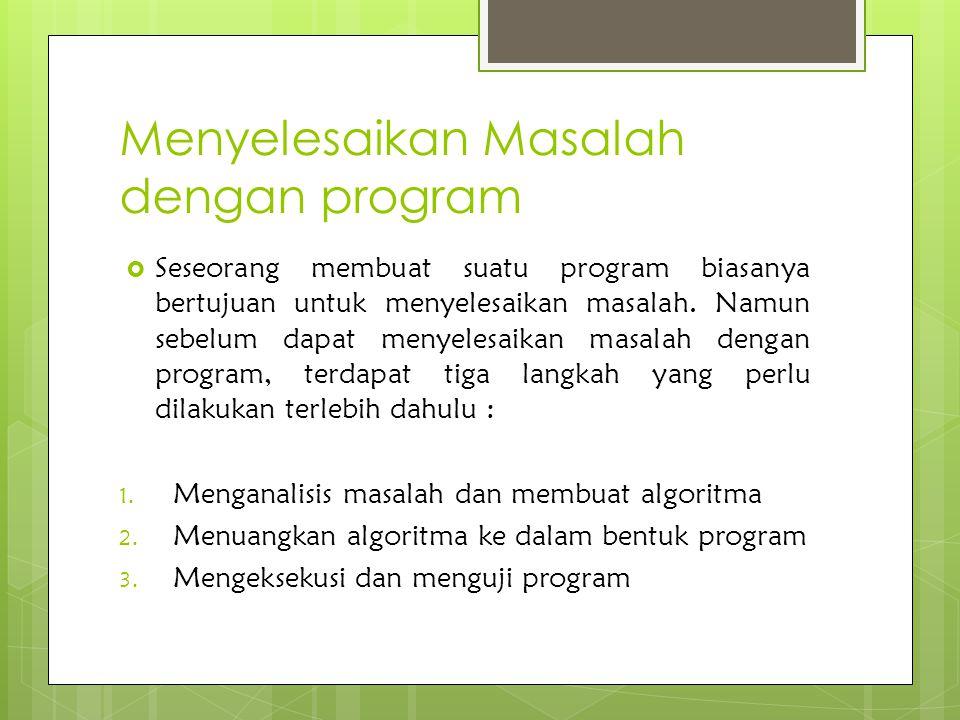 Menyelesaikan Masalah dengan program  Seseorang membuat suatu program biasanya bertujuan untuk menyelesaikan masalah. Namun sebelum dapat menyelesaik