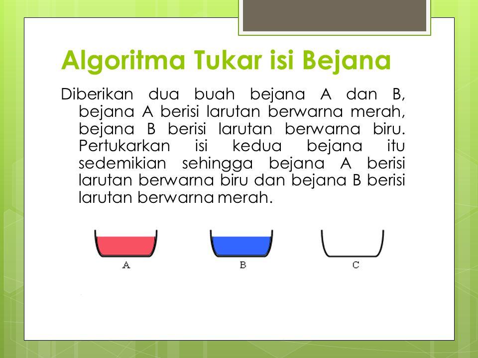 Algoritma Tukar isi Bejana Diberikan dua buah bejana A dan B, bejana A berisi larutan berwarna merah, bejana B berisi larutan berwarna biru.