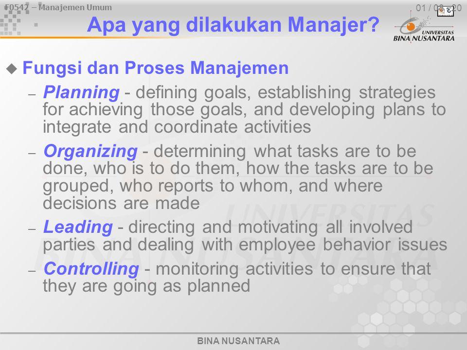 F0542 – Manajemen Umum BINA NUSANTARA 01 / 08 - 20 Apa yang dilakukan Manajer?  Fungsi dan Proses Manajemen – Planning - defining goals, establishing