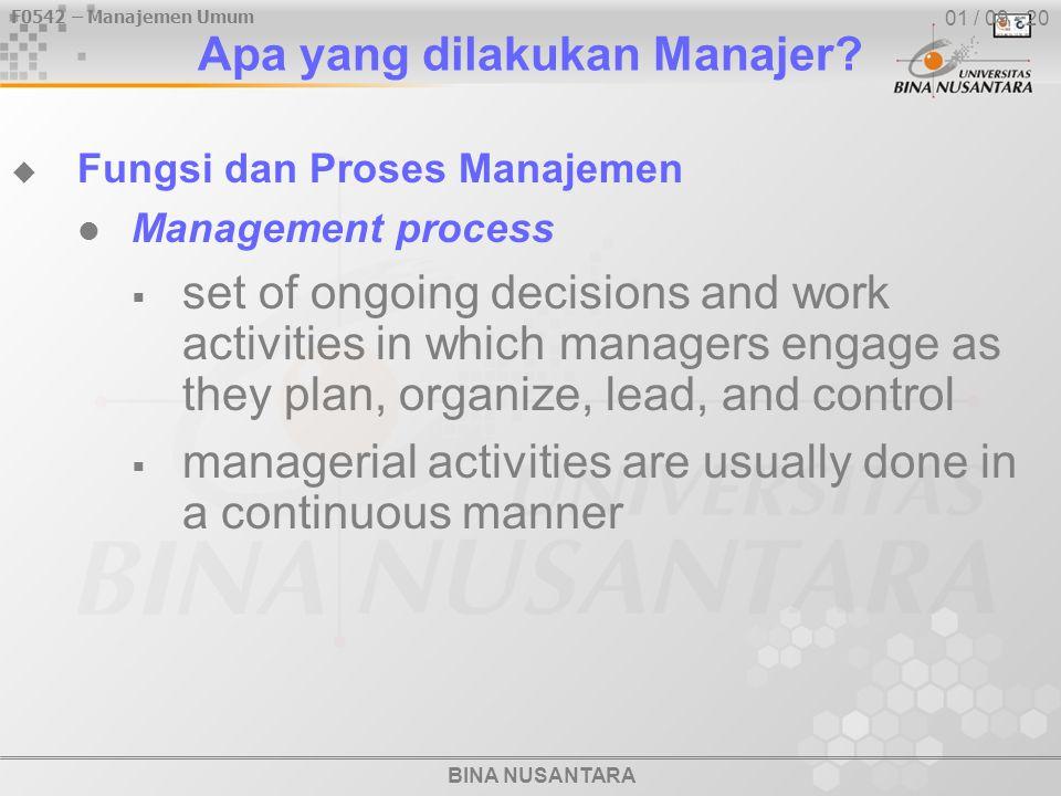 F0542 – Manajemen Umum BINA NUSANTARA 01 / 09 - 20 Apa yang dilakukan Manajer?  Fungsi dan Proses Manajemen Management process  set of ongoing decis