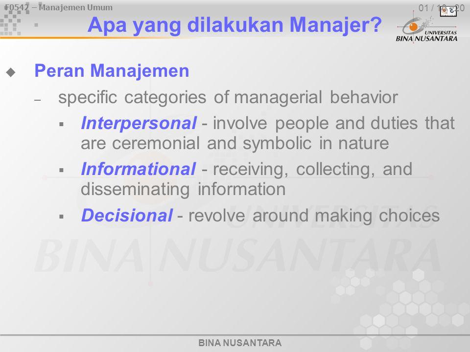 F0542 – Manajemen Umum BINA NUSANTARA 01 / 10 - 20 Apa yang dilakukan Manajer?  Peran Manajemen – specific categories of managerial behavior  Interp