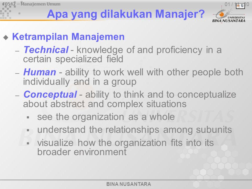 F0542 – Manajemen Umum BINA NUSANTARA 01 / 11 - 20 Apa yang dilakukan Manajer?  Ketrampilan Manajemen – Technical - knowledge of and proficiency in a