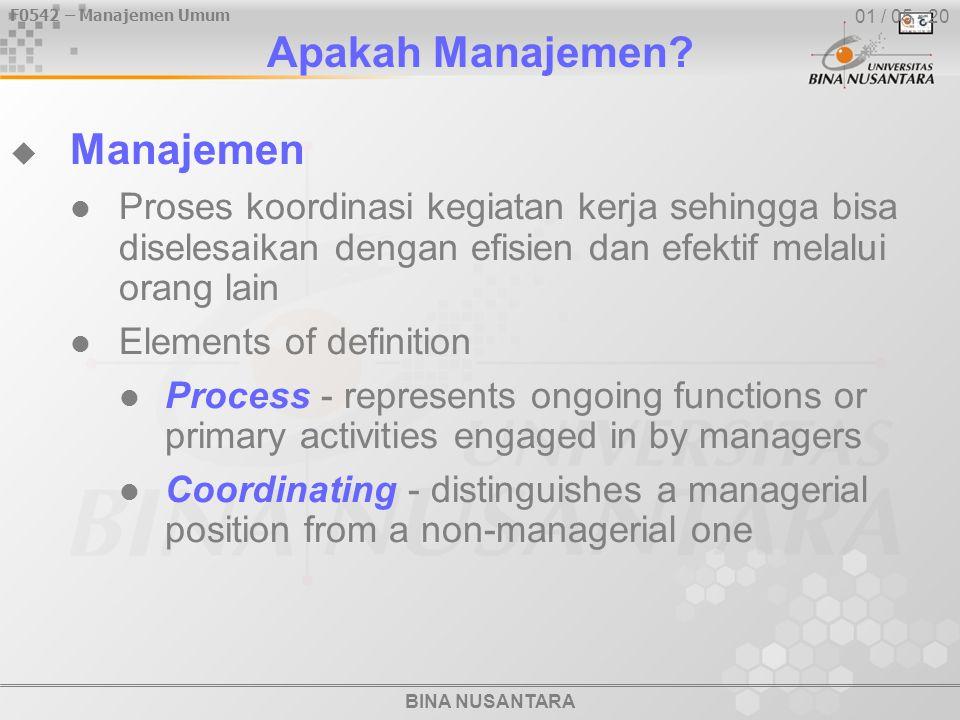 F0542 – Manajemen Umum BINA NUSANTARA 01 / 05 - 20 Apakah Manajemen?  Manajemen Proses koordinasi kegiatan kerja sehingga bisa diselesaikan dengan ef
