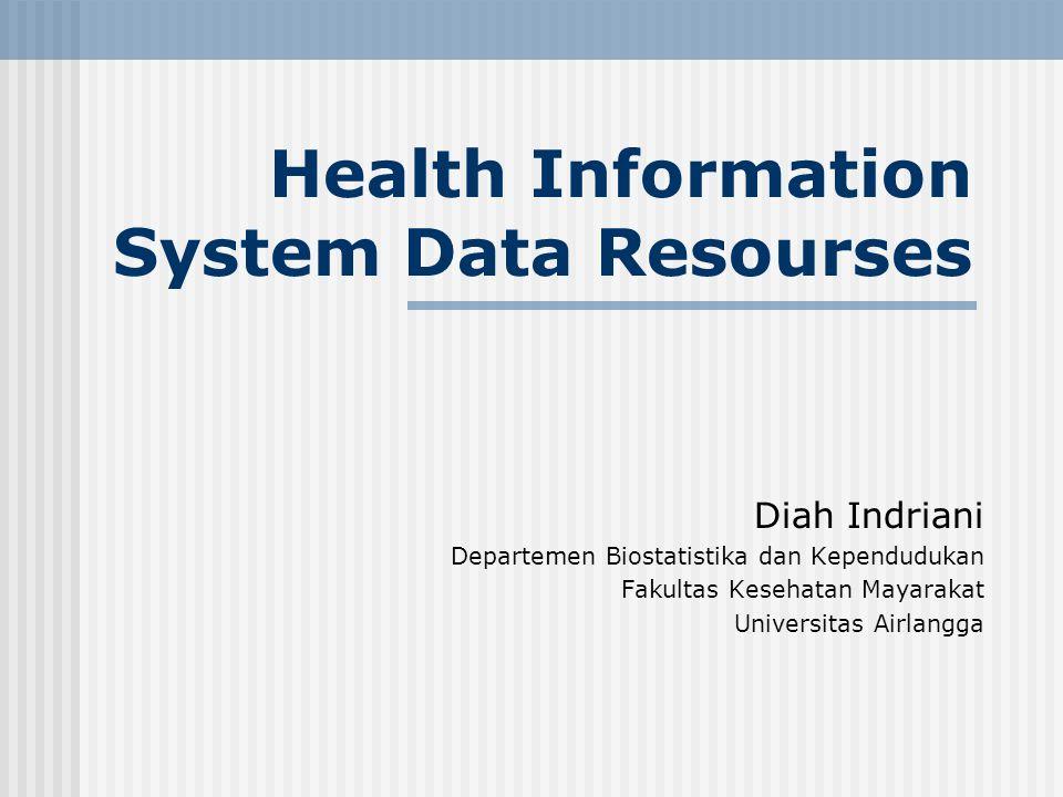 Health Information System Data Resourses Diah Indriani Departemen Biostatistika dan Kependudukan Fakultas Kesehatan Mayarakat Universitas Airlangga