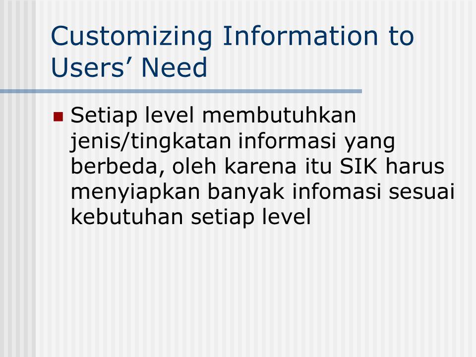 Customizing Information to Users' Need Setiap level membutuhkan jenis/tingkatan informasi yang berbeda, oleh karena itu SIK harus menyiapkan banyak infomasi sesuai kebutuhan setiap level