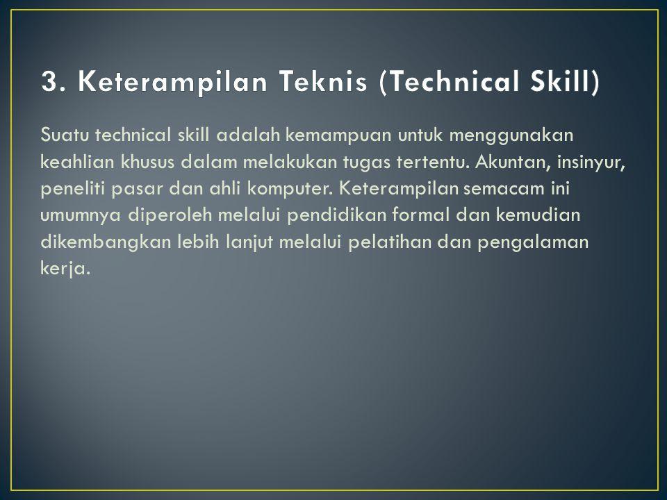 Suatu technical skill adalah kemampuan untuk menggunakan keahlian khusus dalam melakukan tugas tertentu.