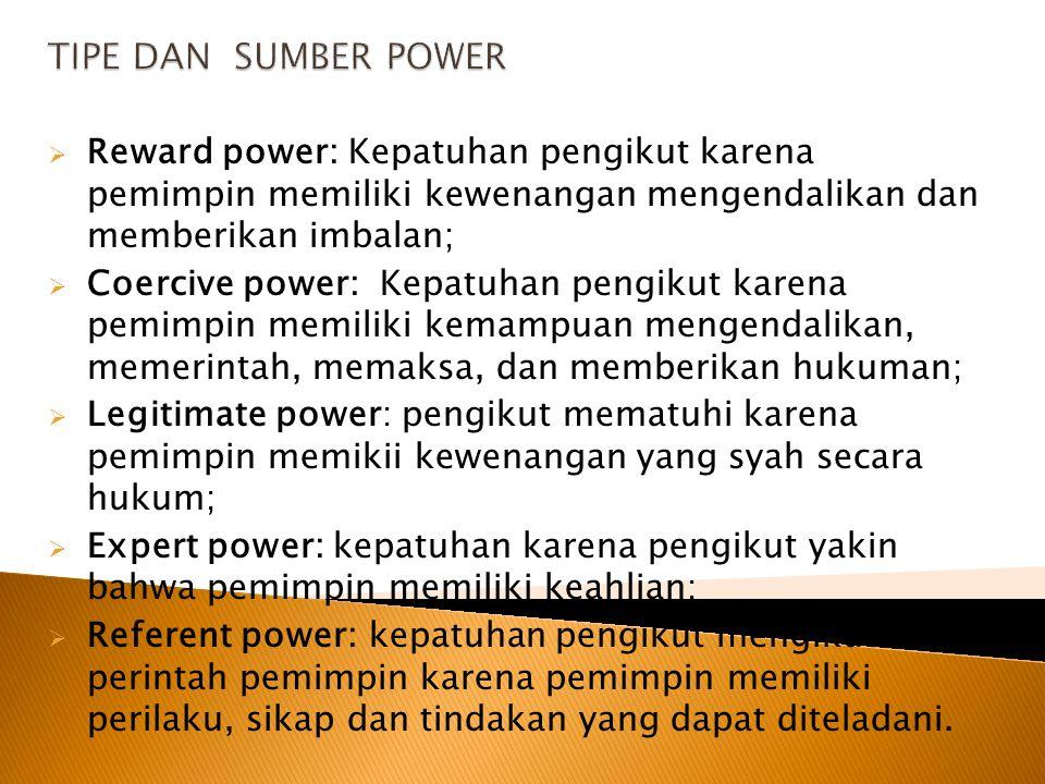  Agar pemimpin memiliki pengaruh yang kuat, dia harus mengembangkan dan menggunakan power;  Apakah power itu? Power is the ability to influence the