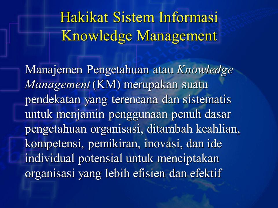 Pengetahuan / Knowledge Pengetahuan dipandang sebagai sebuah komoditi atau sebuah aset intelektual Pengetahuan dipandang sebagai sebuah komoditi atau sebuah aset intelektual Karakteristik pengetahuan: Karakteristik pengetahuan: 1.Penggunaan pengetahuan tidak akan menghabiskannya 2.Perpindahan pengetahuan tidak akan menghilangkannya 3.Pengetahuan itu berlimpah, tetapi kemampuan terbatas untuk menggunakannya 4.Banyak pengetahuan berharga hilang begitu saja