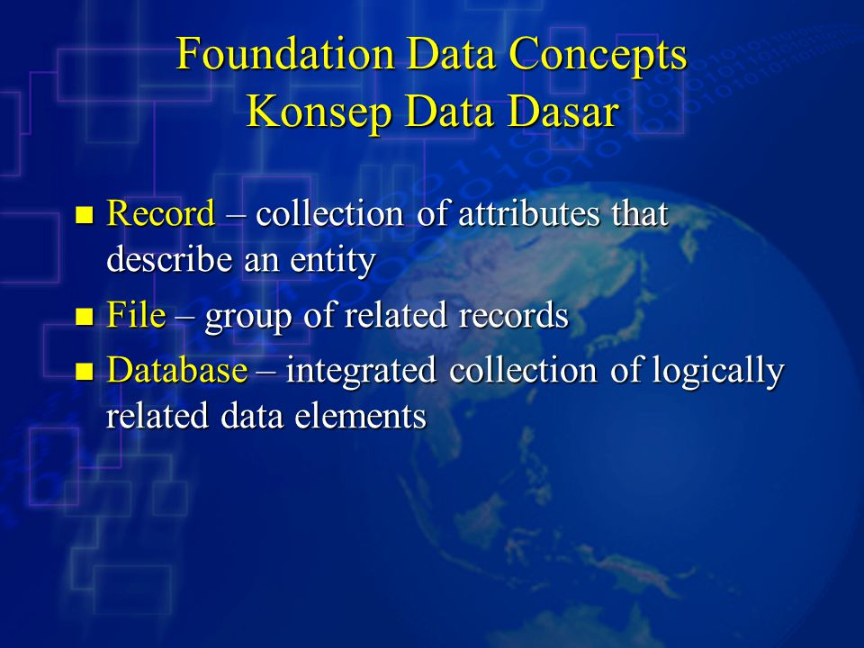 Foundation Data Concepts Konsep Data Dasar Record – collection of attributes that describe an entity Record – collection of attributes that describe an entity File – group of related records File – group of related records Database – integrated collection of logically related data elements Database – integrated collection of logically related data elements