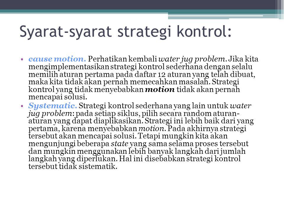Syarat-syarat strategi kontrol: cause motion. Perhatikan kembali water jug problem. Jika kita mengimplementasikan strategi kontrol sederhana dengan se