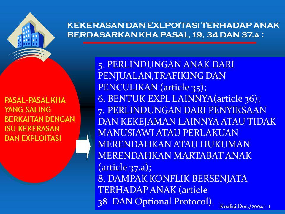 PASAL-PASAL KHA YANG SALING BERKAITAN DENGAN ISU KEKERASAN DAN EXPLOITASI PASAL-PASAL KHA YANG SALING BERKAITAN DENGAN ISU KEKERASAN DAN EXPLOITASI 5.