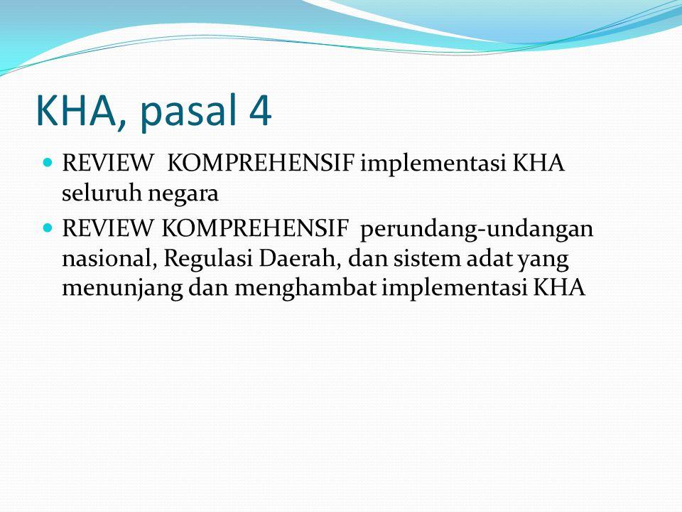 KHA, pasal 4 REVIEW KOMPREHENSIF implementasi KHA seluruh negara REVIEW KOMPREHENSIF perundang-undangan nasional, Regulasi Daerah, dan sistem adat yang menunjang dan menghambat implementasi KHA
