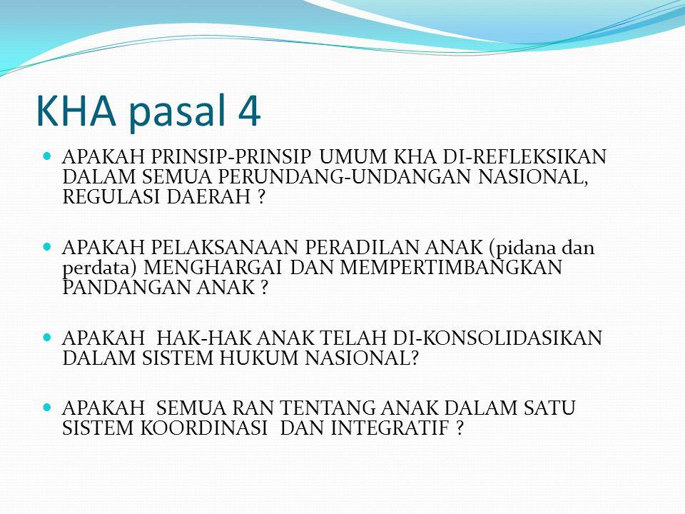 KHA pasal 4 APAKAH PRINSIP-PRINSIP UMUM KHA DI-REFLEKSIKAN DALAM SEMUA PERUNDANG-UNDANGAN NASIONAL, REGULASI DAERAH .