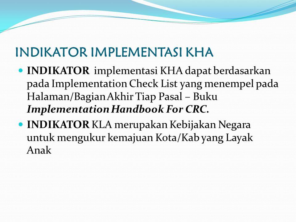 INDIKATOR IMPLEMENTASI KHA INDIKATOR implementasi KHA dapat berdasarkan pada Implementation Check List yang menempel pada Halaman/Bagian Akhir Tiap Pasal – Buku Implementation Handbook For CRC.