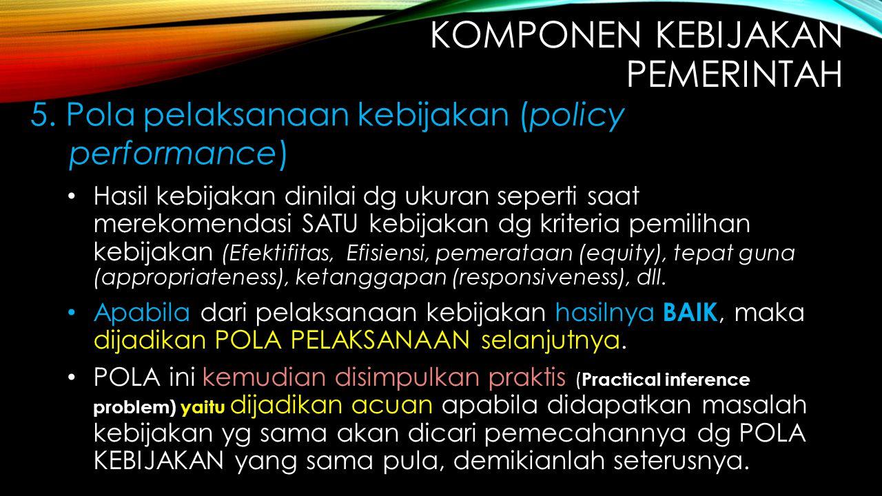Hasil kebijakan dinilai dg ukuran seperti saat merekomendasi SATU kebijakan dg kriteria pemilihan kebijakan (Efektifitas, Efisiensi, pemerataan (equit
