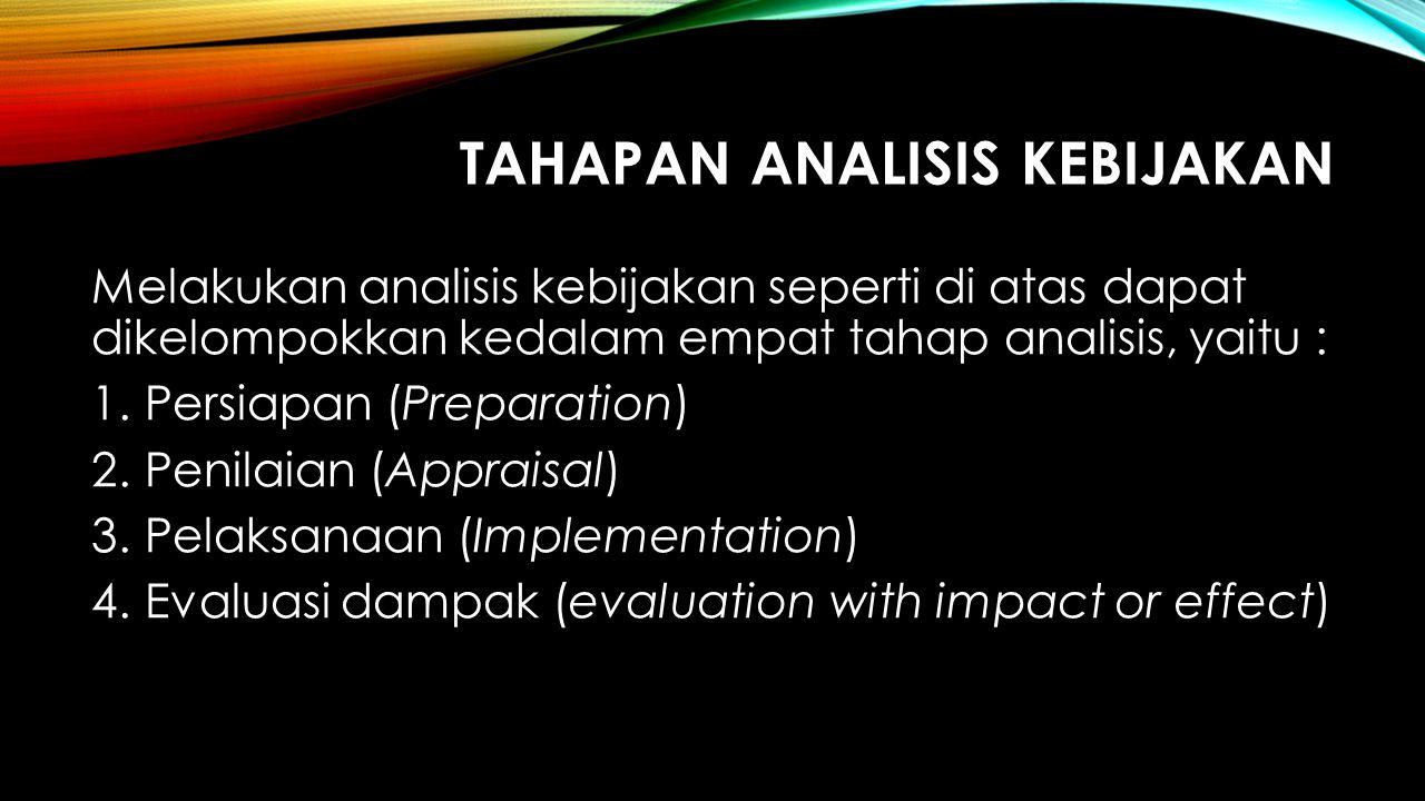 TAHAPAN ANALISIS KEBIJAKAN Melakukan analisis kebijakan seperti di atas dapat dikelompokkan kedalam empat tahap analisis, yaitu : 1.Persiapan (Prepara