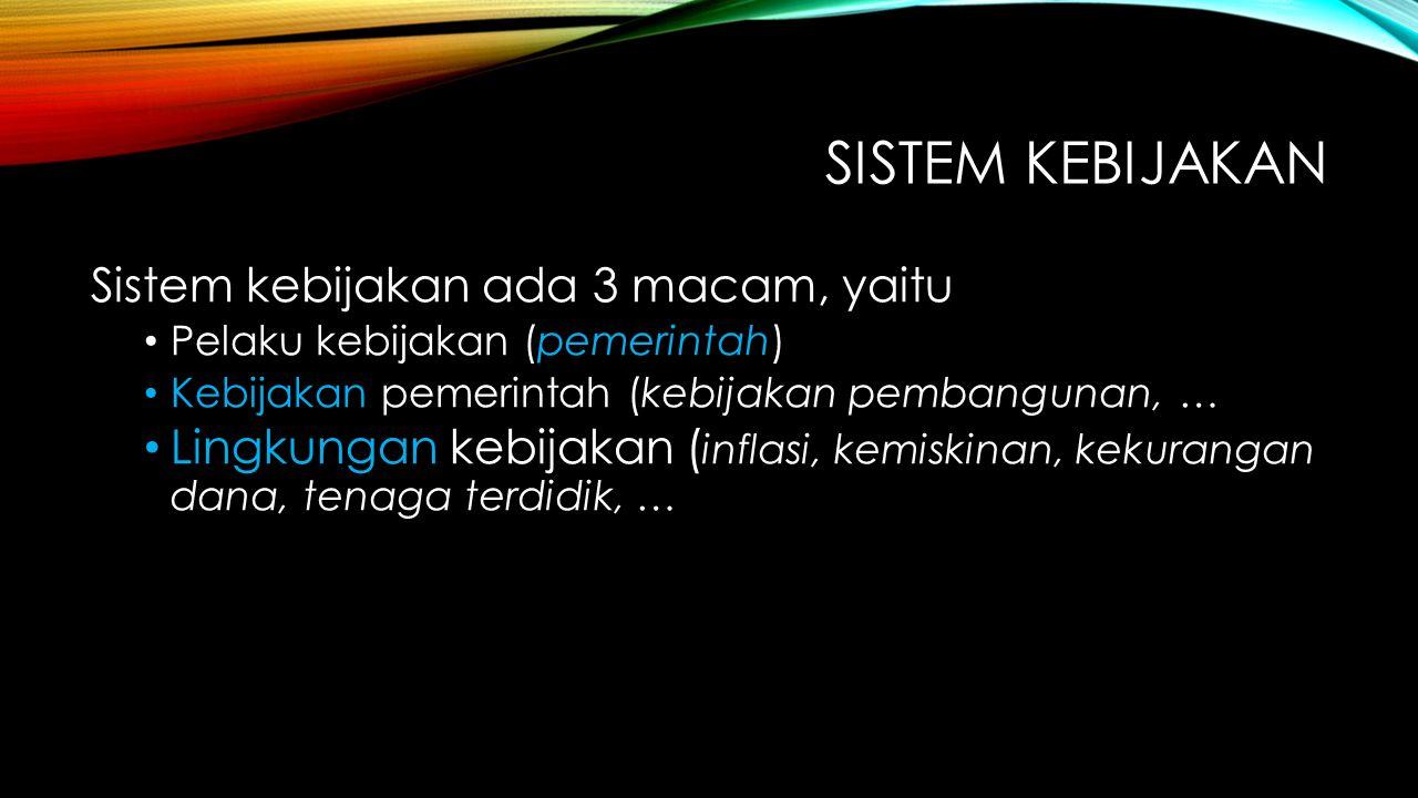 SISTEM KEBIJAKAN Sistem kebijakan ada 3 macam, yaitu Pelaku kebijakan (pemerintah) Kebijakan pemerintah (kebijakan pembangunan, … Lingkungan kebijakan