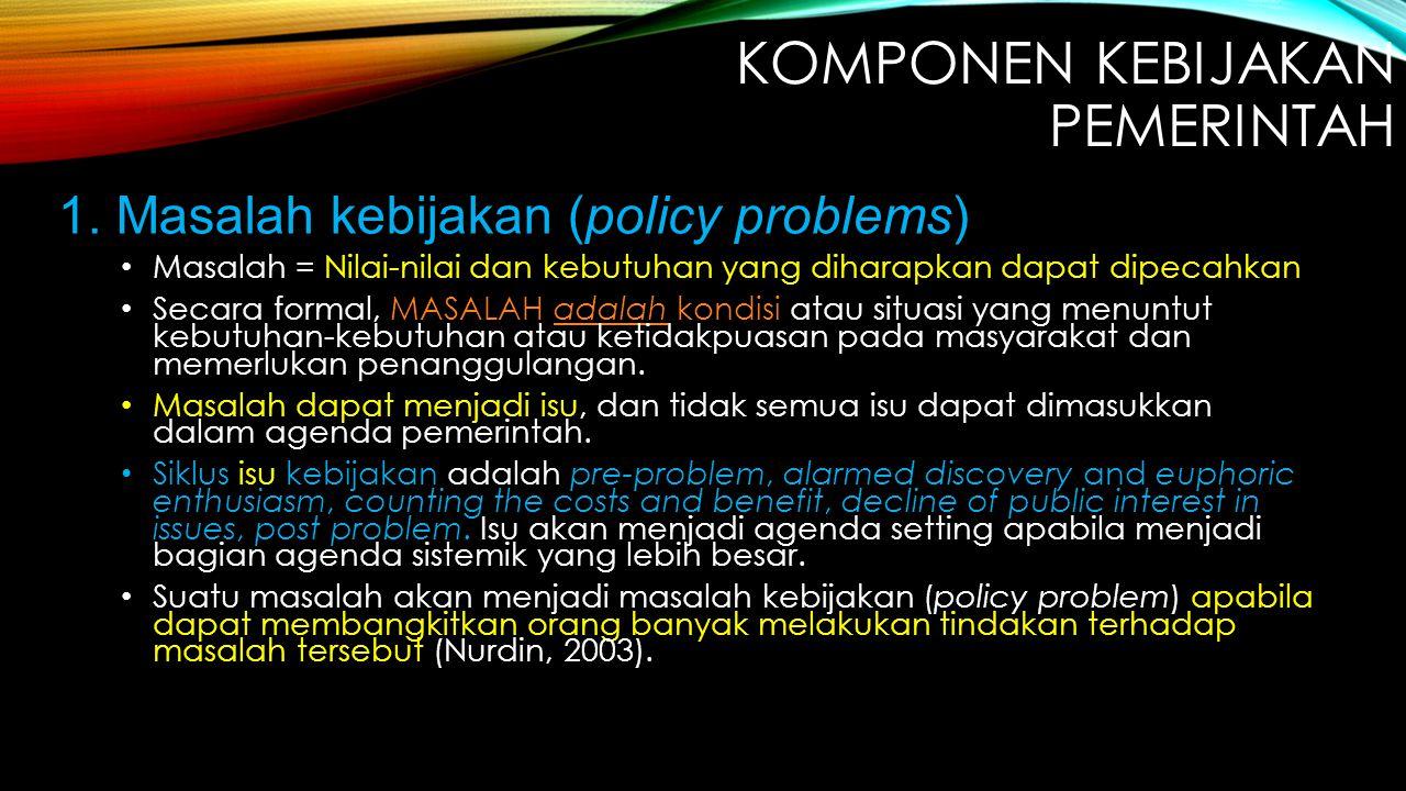 1. Masalah kebijakan (policy problems) Masalah = Nilai-nilai dan kebutuhan yang diharapkan dapat dipecahkan Secara formal, MASALAH adalah kondisi atau