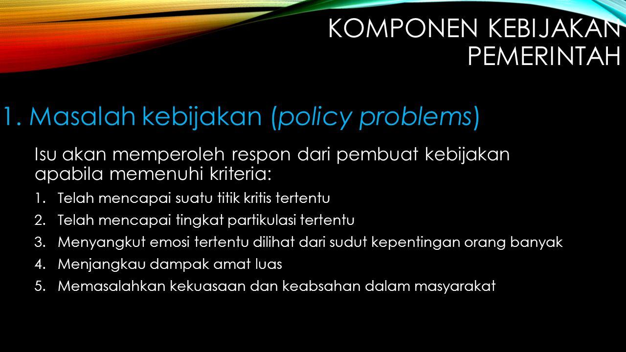 Isu akan memperoleh respon dari pembuat kebijakan apabila memenuhi kriteria: 1.Telah mencapai suatu titik kritis tertentu 2.Telah mencapai tingkat par