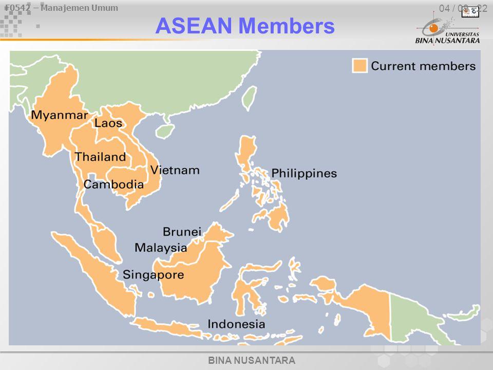 BINA NUSANTARA F0542 – Manajemen Umum 04 / 09 - 22 ASEAN Members
