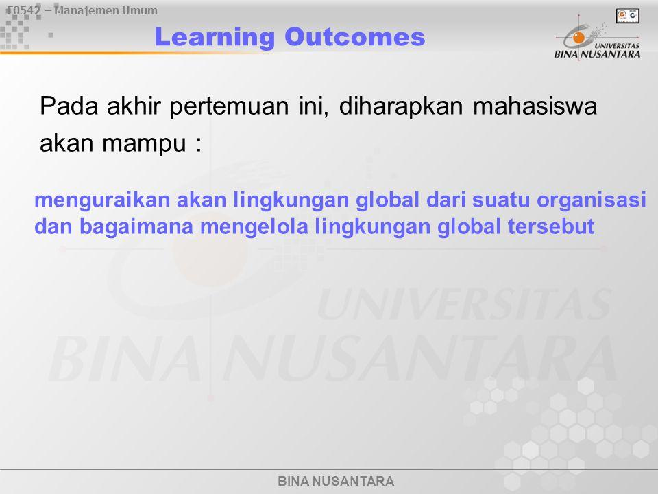 BINA NUSANTARA F0542 – Manajemen Umum Learning Outcomes Pada akhir pertemuan ini, diharapkan mahasiswa akan mampu : menguraikan akan lingkungan global dari suatu organisasi dan bagaimana mengelola lingkungan global tersebut