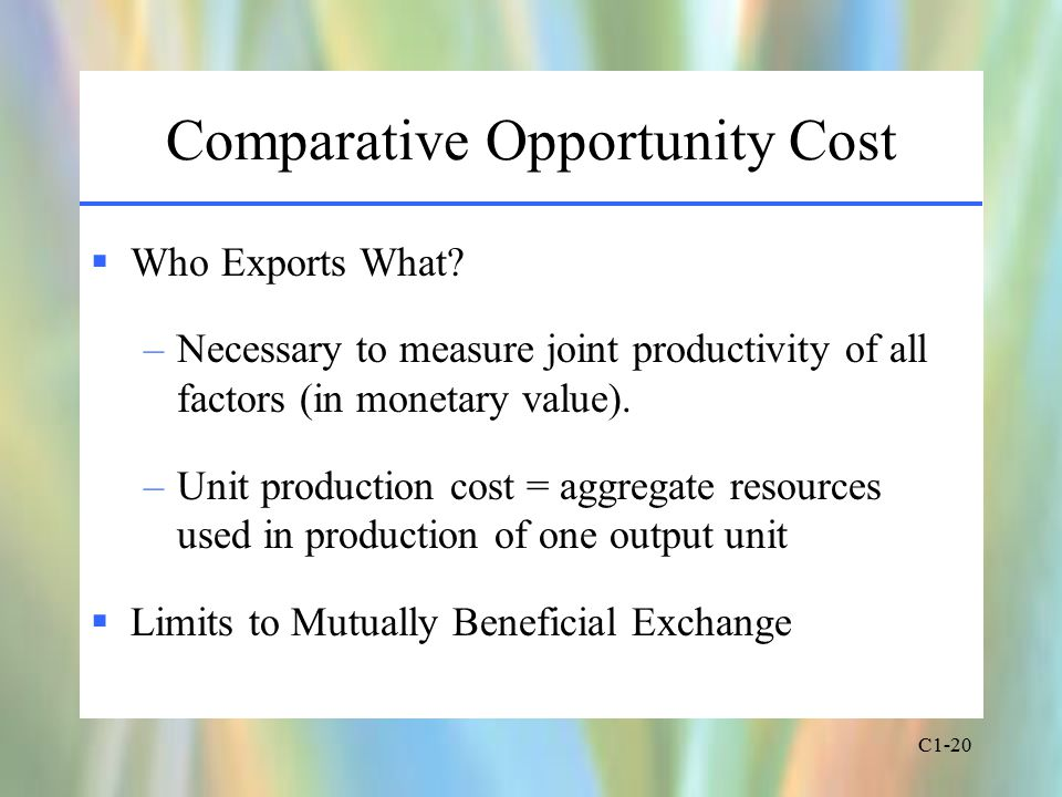 C1-20 Comparative Opportunity Cost  Who Exports What.
