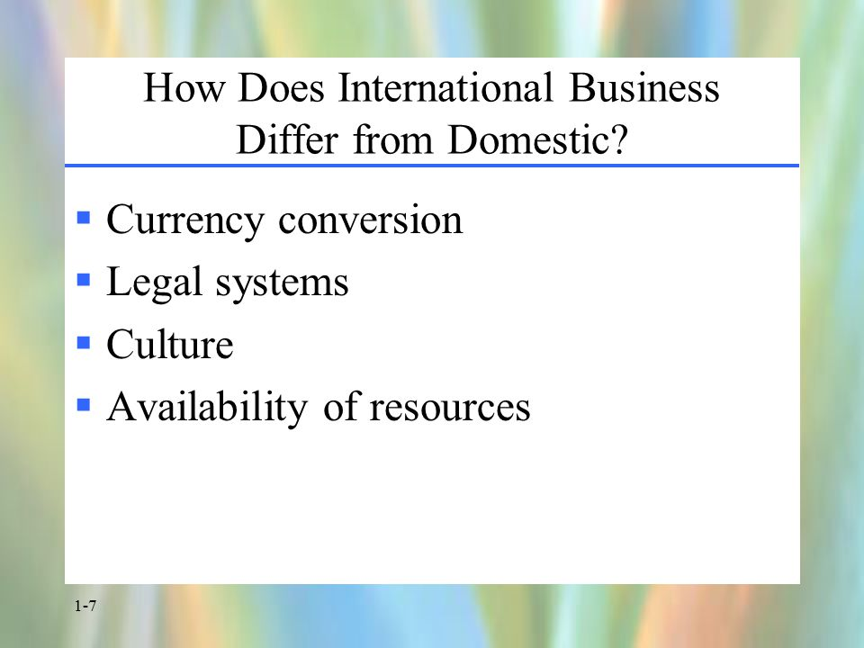 1-7 How Does International Business Differ from Domestic.